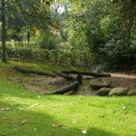 groene speeltuin met boomstammen